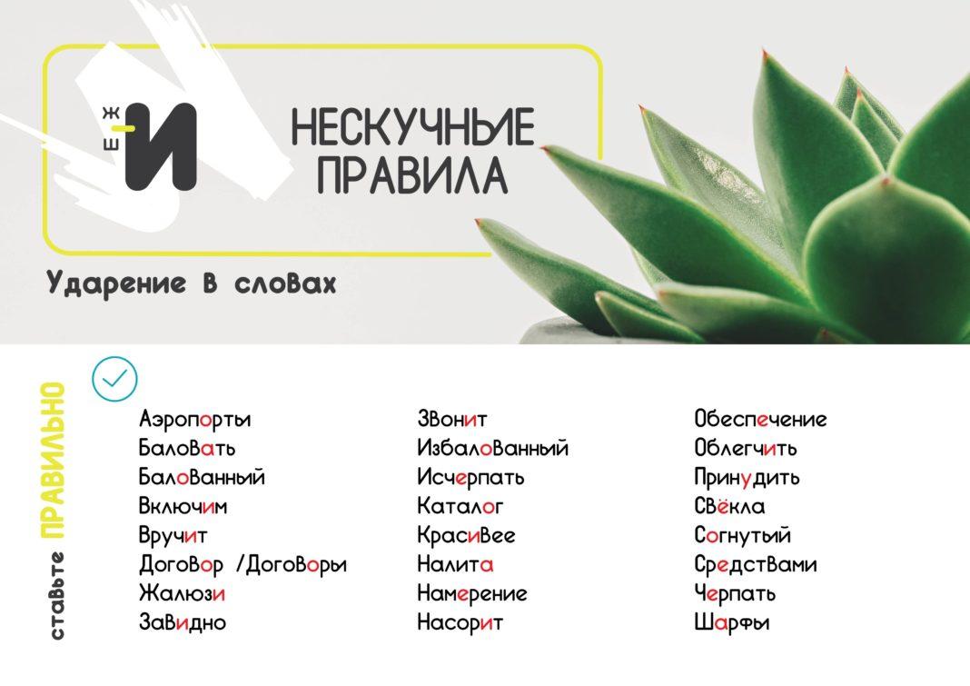 картинка правила русского языка про ударение