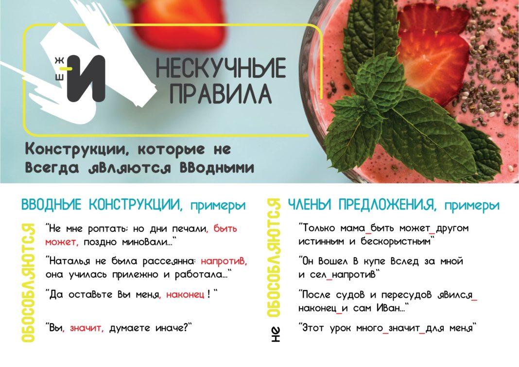 картинка правила русского языка про вводные конструкции