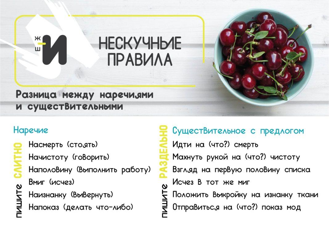 картинка правила русского языка про наречия и существительные