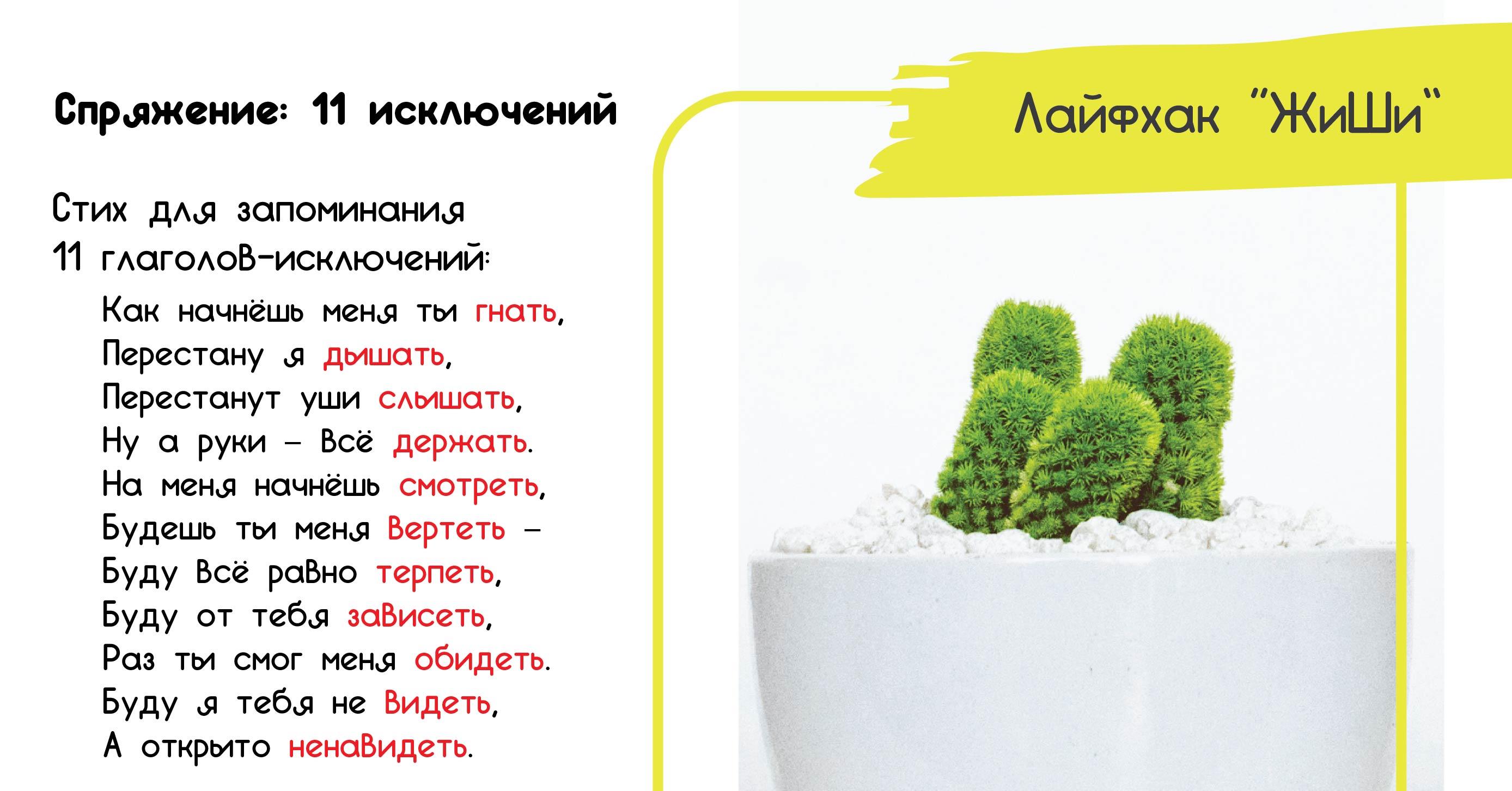 Картинка правила русского языка спряжение глаголов